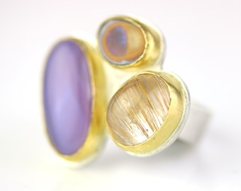Rock Party Ring - Amethyst Agate, Koroit Opal and Golden Rutilated Quartz. Size 7 1/2.