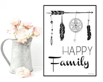 Happy family quote, Family poster, Black and white inspirational quote poster, Word art, Modern design, Home wall art decor, Quote print