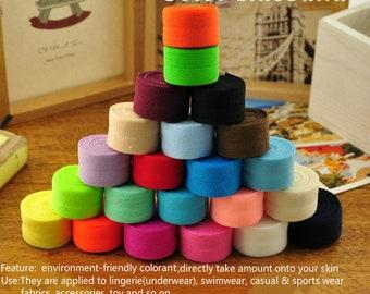"Solid Colors Elastic Grab Bag 40 Yards, FOE 3/5""(1.5cm)and4/5""(2cm).High quality!"