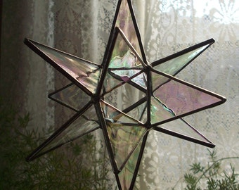 "Stained glass star - 6""  12 point Moravian Star"