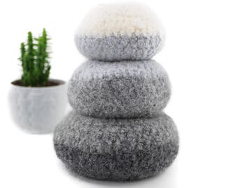 WOOLY FELTED Pod Bowls - wooly pods to put your stuff into - grey shades* 12