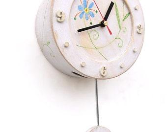 Pendulum Circle White Wall Clock, Folk style art, Wall hanging, Folk flowers ornament, Folk Wall decor, Mothers day gift