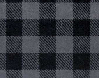 Gray and Black Buffalo Check FLANNEL Fabric by the yard and by the half yard