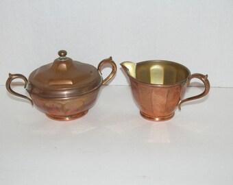 Antique Manning Bowman Brass Sugar Bowl and Creamer 691