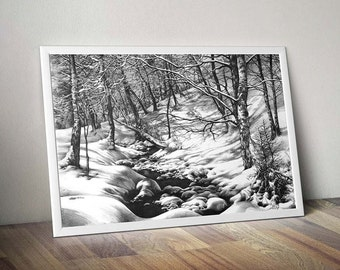 winter drawing art print - winter landscape pencil drawing - winter trees print - frozen stream drawing - winter wall art - black and white