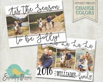 Holiday Card PHOTOSHOP TEMPLATE - Family Christmas Card 153