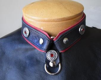 Red Victorian Corset  Leather Collar - Med. - Fantasy, Larp, Designer Fetish Wear ~* Handcrafted Leather