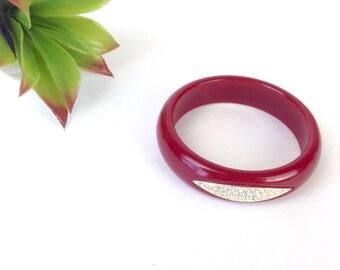 Vtg 70s burgundy wine bangle bracelet crystal bling diamond inlay mod