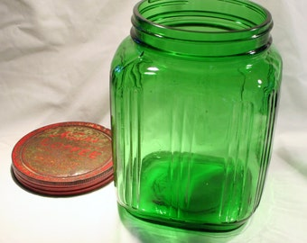 1930's Green Depression Glass, Large Canister Jar, Metal Lid