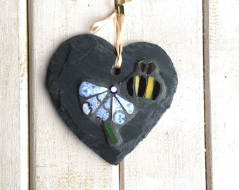 Bee Mosaic with Flower on Slate ~ Unique Gift for Gardener ~ Wall Decor ~ China Mosaic Plaque ~ Garden Art  ~ Recycled China ~ Shabby Chic
