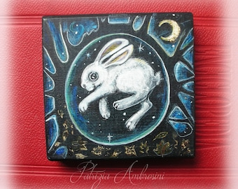 "SMALL Handpainted art block on wood - """" Rabbit in a burrow """" - ORIGINAL, Painting"