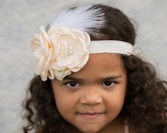 baby headband, girl satin headband, baby flower headband, girls flower headband, flower girl ivory headband,toddler headband,flower headband