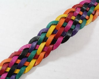 Leather Belt Colorful Woven Leather Size S