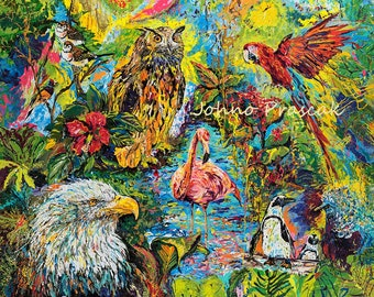 Bird art, Owl art, National Aviary, Colorful bird art, Johno Prascak, Johnos Art Studio, aviary