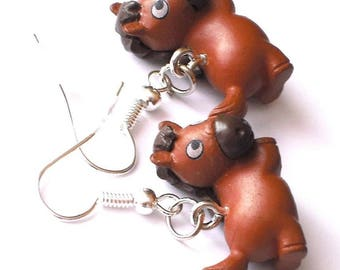 Horse Brown-1 pair of earrings-carnival children's gifts jewellery fashion Jewelry
