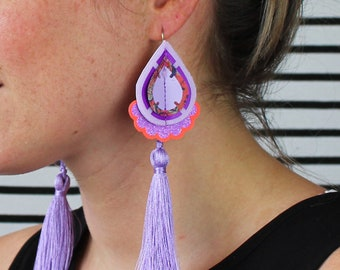 LILAC TASSEL Earrings with fluoro orange frill. STATEMENT earrings. Textile Jewellery. Festival Jewellery Collection.