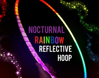 "Nocturnal Rainbow Reflective Hula Hoop HDPE or Polypro 5/8"" 3/4"" Dance Exercise  - NOT an LED hoop"