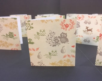 "2.5"" Square Cards Tags - set of 10 Fall Autumn forest animals"