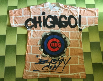 Vintage 1993 MLB Chicago Cubs all over print tshirt Size L