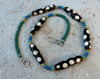 Fun Tribal Necklace/Batiked Polka Dot Bone Beads/Blue Green Yellow Beads/Silver Hook Closure . Rustic Boho Tribal Southwest Style Jewelry