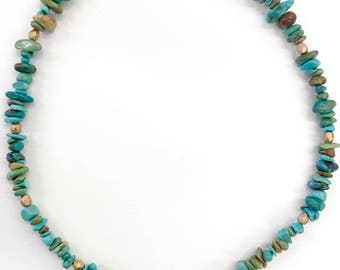 Turquoise coral and gold necklace with pendant
