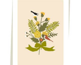 greeting cards birds in a woodland bouquet collection