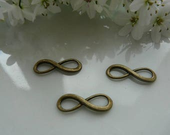 Bronze charm connector interlaced ring