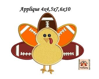 Thanksgiving Turkey Applique Design - Machine Embroidery Pattern - Instant Download