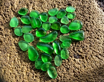 FREE SHIPPING tiny small & Medium Green Genuine Sea Glass EL-J2-36-A