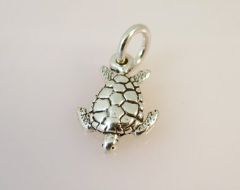 Sterling Silver 3-D Small SEA TURTLE Charm Pendant Beach Ocean Nautical Swimming .925 Sterling Silver New nt28
