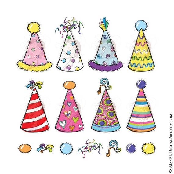 Items similar to Party Hats Clipart Whimsy Birthday New ...