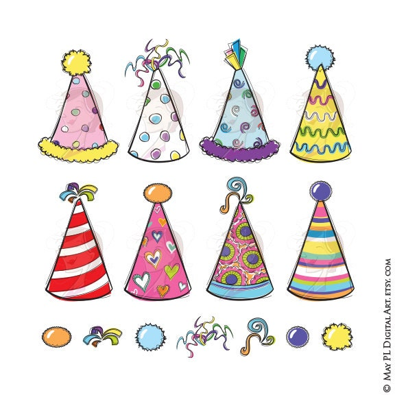 Party Hats Clipart Whimsy Birthday New Years Eve DIY