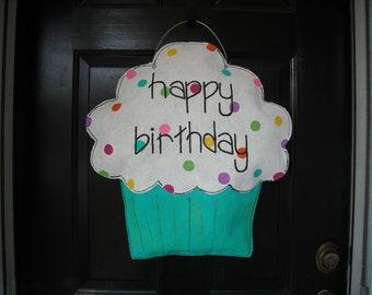 Turquoise Burlap Cupcake Decoration
