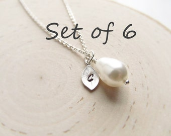 Bridesmaid Gift Set of 6, Silver Personalized Necklace, Teardrop Pearl with Initial Charm, Wedding Jewelry, Silver Pearl Jewelry, Bridal