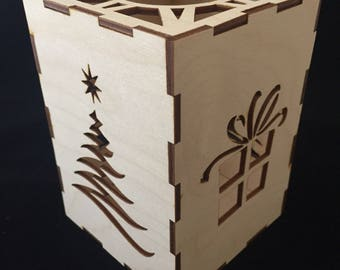 Christmas Tree and Present Votive Candle Holder