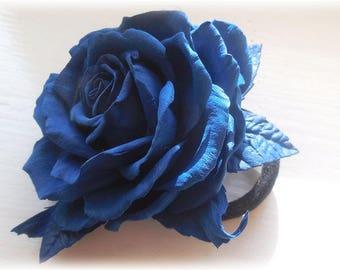 Blue Hair Rose Hair clip Something Blue Wedding fascinator Stylish accessory Rose hair accessory Bridal dark Blue Gift accessory Gift girl