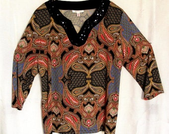 JM Collection Polyester Spandex Women's Blouse Top Shirt // Sequinned // Beaded // Stylish // Festive // Holiday // Easy // Size XL
