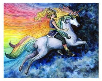 Rainbow Brite Starlight Unicorn Illustration Art - Watercolor - Painting - Digital Download - Printable - Limited Edition