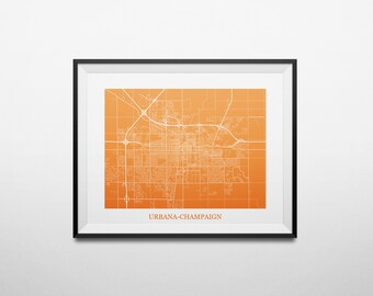 Urbana-Champaign, Illinois Abstract Street Map Print
