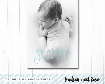 Printable - The 'George' Classic Birth Announcement   Baby Thank You Card