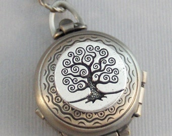 Enchanted Tree,Tree Locket,Tree Necklace,Silver Locket,Silver Necklace,Family Tree,Woodland,Antique Locket.Pill Box,Compartment