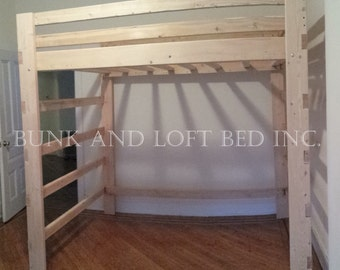 queen size heavy duty loft bed with stair case shelf. Black Bedroom Furniture Sets. Home Design Ideas