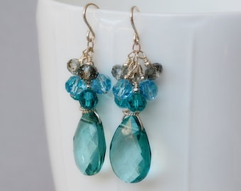 Sea Dreams Glass and Crystal Earrings - Aqua Earrings - Sea Themed Earrings - Happy Shack Designs