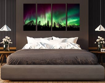 Northern Lights Green with Trees Wall Art