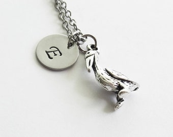 Pelican Necklace, Tropical Bird, Animal Jewelry, Friend Gift, Birthday Gift, Silver Initial, Personalized, Monogram, Hand Stamped Letter