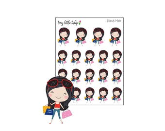 Planner Stickers Girl Shopping