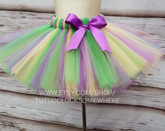 Customizable Mardi Gras Tutu Skirt, Adult Mardi Gras Tutu, Purple Gold Green Tutu, Baby Mardi Gras Tutu, Donatello Tutu Costume TMNT, Turtle