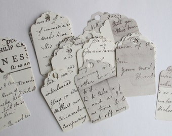 vintage paper tags, 25 vintage script tags