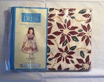 Daisy Kingdom Homespun Holiday Poinsettia fabric - 2 yd pkg