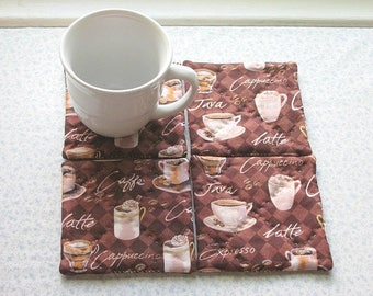 dark coffee hand quilted set of mug rugs coasters